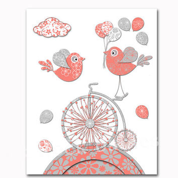 Coral salmon grey nursery art baby girl room wall decor birds poster old bike decoration playroom print toddler art newborn baby shower gift