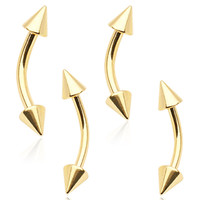 Gold Plated Over 316L Surgical Steel Eyebrow Ring with Spikes