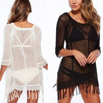 Tassel Sexy Hot Knitted Summer Dress 2017 Solid Slim White Beach Sun Cover up women Mini Dresses Ladies Fringe Hollow Out Pareos