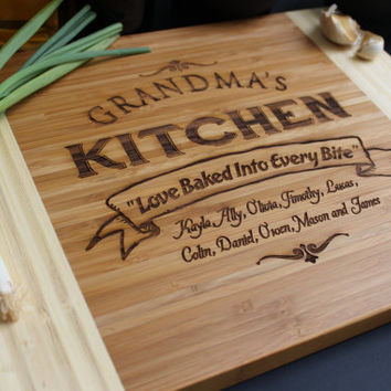 Personalized Cutting board, Custom Cutting Board,  Grandma's Kitchen Cutting Board, Custom Engraved - 11 x 14 Bamboo wood --6115