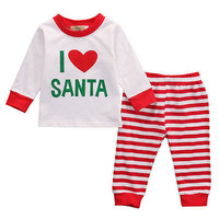 New 2016 fashion baby clothes baby clothing set Christmas Santa Infant Baby Boy Girl Outfits Clothes Romper Pants Leggings Set