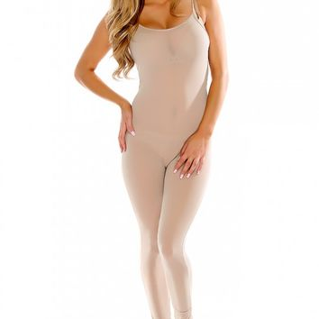 Sexy Tan Sheer Sleeveless Dressy Jumpsuit