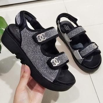CHANEL Summer Popular Women Magic Stick Water Drill Portable Comfortable Sequins Antiskid Thick Sole Sandal Slipper Shoes Silvery I12610-1