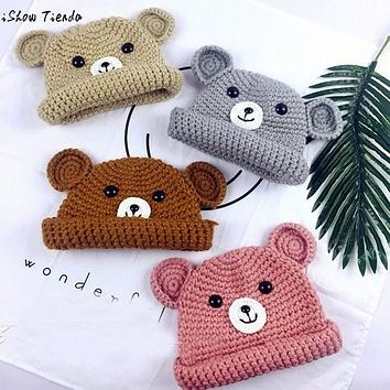 Winter Knitted Bear Hats For Kids