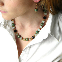 Mint Necklace, Green Beaded Necklace, Mint Chocolate and Gold Beaded Necklace, Earrings, Jewelry Set