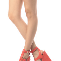 Coral Faux Leather Ankle Strap Wedges