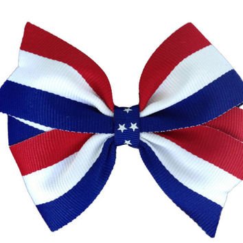 4 inch red white & blue hair bow - Fourth of July bow, patriotic bow, flag bow, red white blue bow