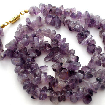 Amethyst Nugget Bead Necklace Vintage 20""