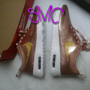 Nike Air Max Thea Rose Bronze Custom Shoes Swarovski Crystal Trainers Nike Sneakers Ni