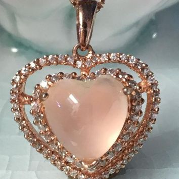 DCCKF4S Natural rose quarts silver pendant , heart shape 10mm, lovely pink color for youny ladies, good quality, hand-made jewelry