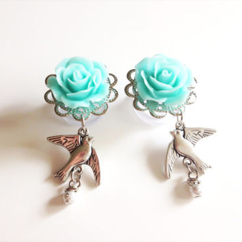 "00g Dangle Plugs with Sparrows 0g Rose Gauges 9/16"" (14mm), 1/2"" Plugs with Roses and Dangles Choose from 20 Rose Colors"