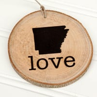 Arkansas Love state shape Maple wood slice ornaments Set of 4.  Wedding favor, Bridal Shower, Country Chic, Rustic, Valentine Gift