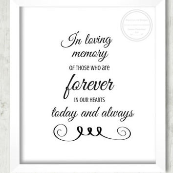 "Wedding Reception Sign, ""In Loving Memory"", Wedding Decor, Memory Wedding, DIY Decor, Wedding Signage, Wedding Printable, Reception Sign"