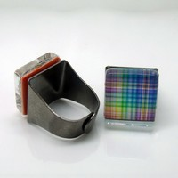 Rainbow Plaid Glass Tile Adjustable Ring Vintage Bronze Plated