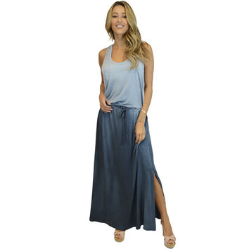 Blue Ombre Maxi-Dress with side slid