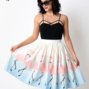 Qybian 2017 New Arrival Summer Pleated Umbrella Midi Skirts High Waist Flamingo printing Circle Swing Elegant Skirts Female