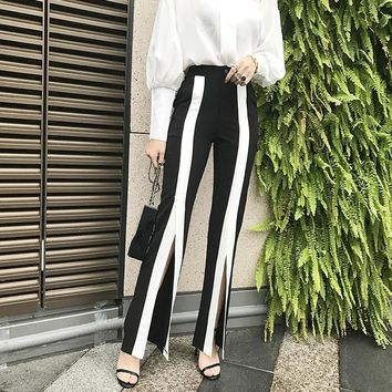 2017 Summer New Women Wide Leg Pants Fashion Sexly Stripe Split Bell Bottom Pants High