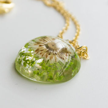 resin jewelry, light green pressed flower necklace, preserved flower jewelry