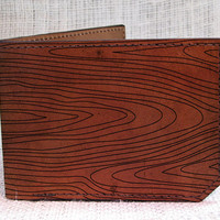 wallet - leather wallet - wood grain wallet - mens wallet - 008