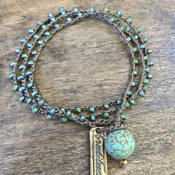 Turquoise Knotted Crochet Bracelet, Gratitude, Rustic Bronze Bohemian Jewelry by Two Silver Sisters