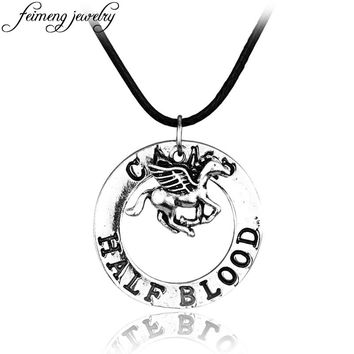 Percy Jackson Camp Half Blood Fly Horse Necklace Leather Rope Vintage Silver Pendant Fashion Jewelry Accessories For Fans