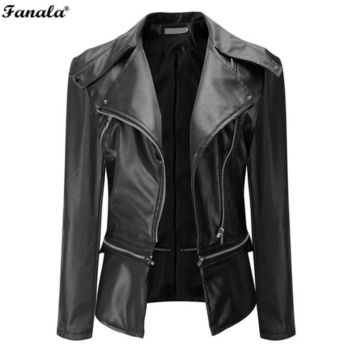 Leather Zipper Jacket 2017 Fashion Women Slim Biker Motorcycle Soft Synthetic Jacket Coat Long Sleeve Turn Down Pocket Coat