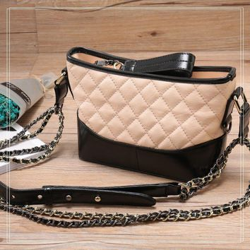 luxury genuine caviar leather cross body bag for woman black beige metal chain min handbags calfskin shoulder bags off-white