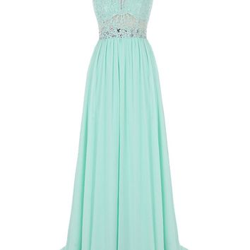 US Shipping Women's Long Lace Bridesmaid Dress Beading Prom Evening Dress