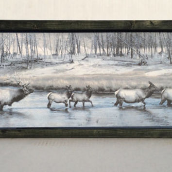 Serving tray, rustic tray with elk, PNW tray, Fathers Day gift