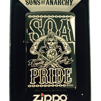 Zippo Custom Lighter - Samcro Sons of Anarchy SOA PRIDE FAMILY LOYALTY LASER Engraving - Regular EBONY BLACK Ice 24756-MP400256