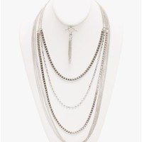 silver Chained Up Long Statement Necklace | $5.50 | Cheap Trendy Necklaces Chic Discount Fashion fo