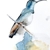 Print of my original watercolor painting . Watercolor Blue Bird. painting . Bird series / Desing painting. FRONT PAGE