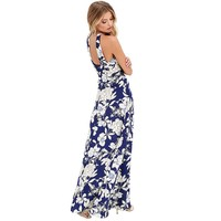 Boho Backless Flower Print Halter Sundress