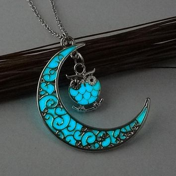 Blue Half Moon And Owl Glow In The Dark Necklace Pendant