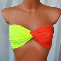 Neon Yellow Coral Twisted Spandex Bra Top Bikini Top Neon Twisted Sexy Bandeau Beach Wear Beach Swimsuit Spandex Twisted Tops Bathing Suits