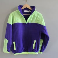 Neon green + purple fleece performance active wear pullover unisex size m - l