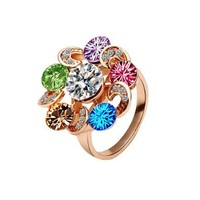 Gold Plated Ring Health Jewelry Nickel Free Austrian Crystal, Size 8