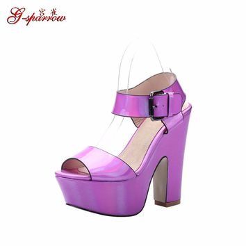Women's Fashion Sandals For Sale Chunky High Heel Platform Shoes Peep Toe Wedges Footw