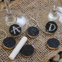 6 Black Chalkboard Wine Glass Cork Charms