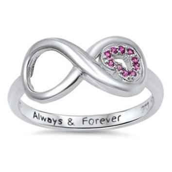 925 Sterling Silver CZ Always and Forever Infinity Pink Ring 9MM