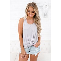 All That Matters Knotted Tank Top (Silver)