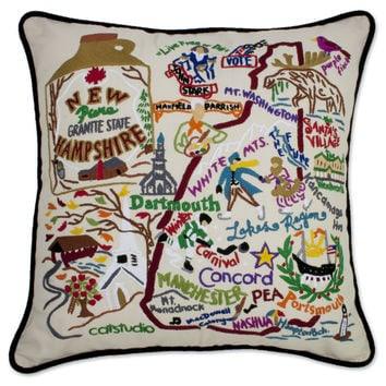 New Hampshire Hand Embroidered Pillow