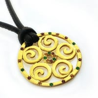 18k gold decorated round pendant with red and green tourmaline gemstones on a black leather cord - Anniversary gift idea