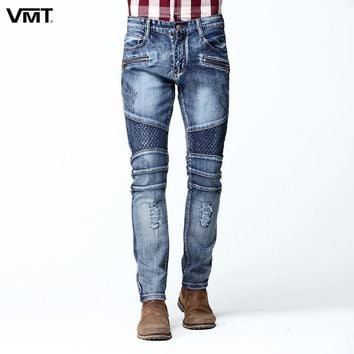VMT 2017 New Mens Cargo Jean Pants Two Side Pockets And Two Zipper In Front Pleated Slim Skinny Stretch Punk Rock Jeans Quality