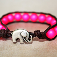 Elephant Bracelet, Leather Beaded Wrap Bracelet 1x, Elephant Jewelry, Bright Neon Pink Swarovski Pearls, Boho Chic