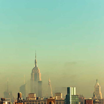 Emerald New York City Skyline Photography, wall decor, Fall, Empire State Building, fog, modern emerald city, NYC