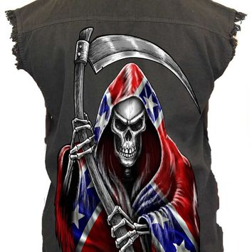 Men's REBEL Flag Sleeveless Denim Vest Rebel Flag Grim Reaper Biker Shirt
