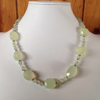 Lemon Lime Chalcedony, Prehnite and Sterling Silver Handcrafted Beaded Necklace, lemon lime necklace, yellow necklace, green necklace