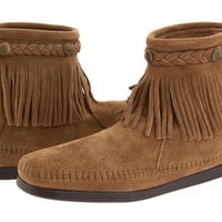 Minnetonka Hi-Top Back Zip Boot Taupe Suede - Zappos.com Free Shipping BOTH Ways