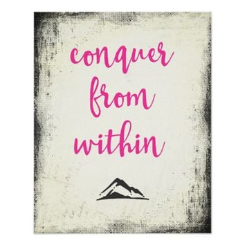 Inspirational Quote Conquer from Within Typography Poster